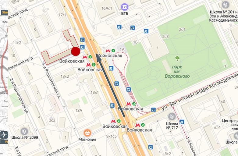Ленинградское шоссе, д.15, крышные рекламные конструкции, вид с Ленинградского шоссе, по направлению из центра карта