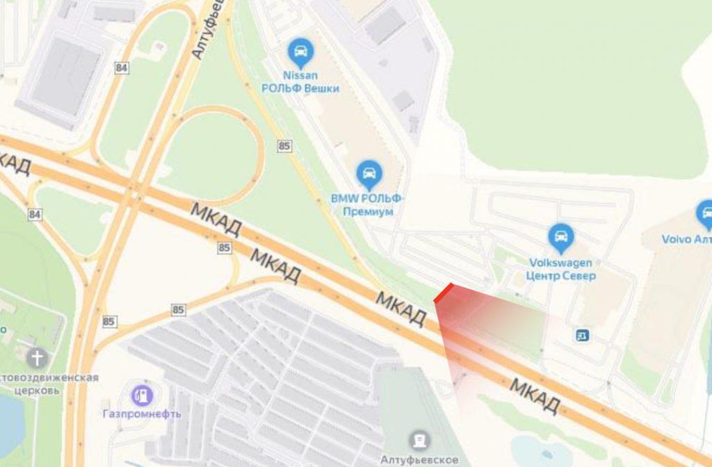 Карта реклама на МКАД 85 км., внешнаяя сторона, съезд на Алтуфьевское ш. в сторону Дмитровского ш. (А)
