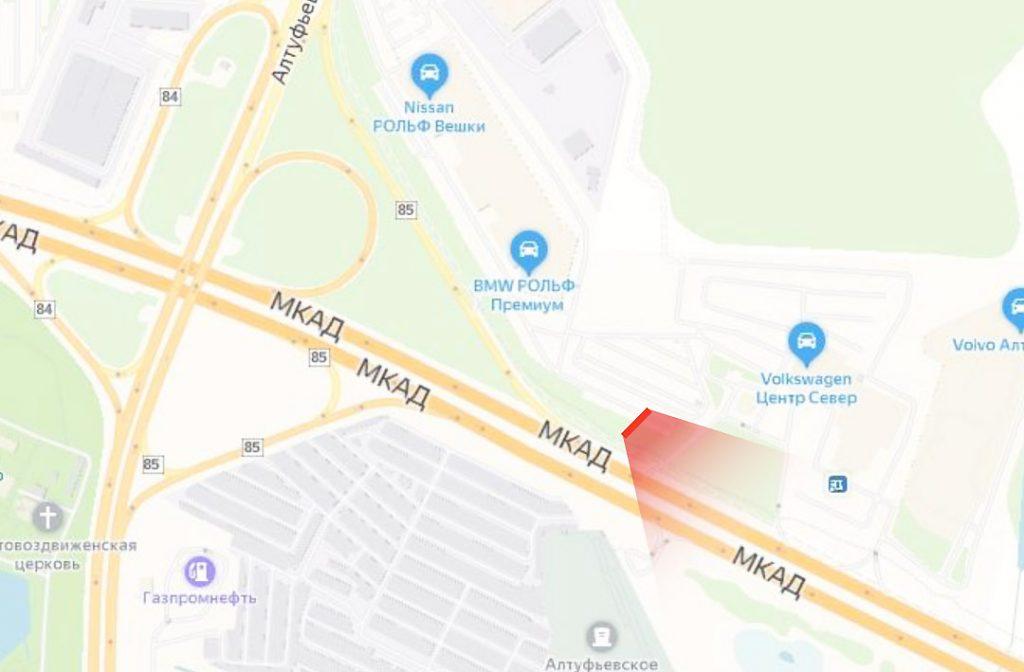 Карта реклама на МКАД 85 км., съезд с Алтуфьевское ш. в сторону Осташковского ш. (В) внешнее