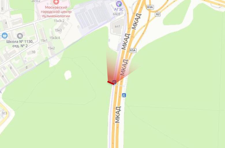 МКАД 61 км. +930 м., съезд с Новорижское ш. - Рублёвское ш., (А) внешнее